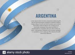 Argentina Banner Design Waving Ribbon Or Banner With Flag Of Argentina Template For