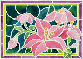 pink day lilies in stained glass janis ilene images