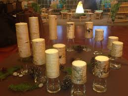 wood inspired candles for rustic bat mitzvah candle lighting ceremony