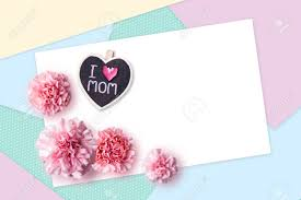 Paper Carnation Flower Happy Mothers Day Concept Of Color Paper And Pink Carnation Flowers