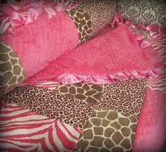 pink and leopard print baby crib bedding
