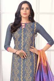 Bollywood Designer Suits Online Shopping Resham Embroidered Cotton Grey Churidar Suit