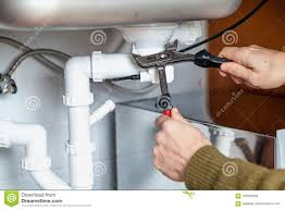 Repair Of Kitchen Overflow Pipe Wrench Closeup Stock Image Image