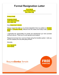 Formal Resignation Letter Example Two Weeks Notice Letter Sample Free Download
