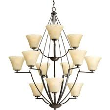 bravo collection 12 light antique bronze chandelier with umber linen glass shade