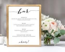 Wedding Bar Menu Wedding Templates And Printables