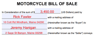 Free Motorcycle Bill Of Sale Form Pdf Word Eforms