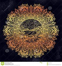 Mandala Round Artwork With Landscape Scene With A Lake Road Pine