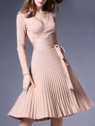Fashion <b>Sexy V</b>-<b>Neck</b> Solid Pleated <b>Knitted</b> Skater Dress - ClothingI