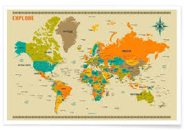 World Map Posters New World Colourful Map Poster Juniqe