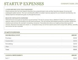Business Start Up Costs Template Startup Expenses