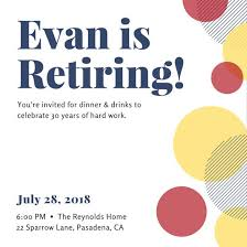 Retirement Celebration Invitation Template Overlapping Circles Retirement Party Invitation Templates By Canva