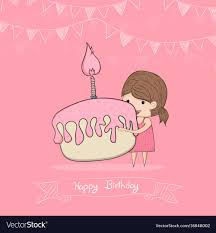 Girl With Birthday Cupcake Drawing By Hand Vector Image