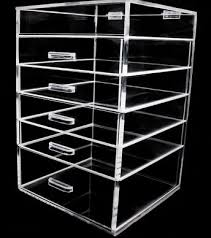 acrylic makeup organizer 6 drawer clear cube with flip top