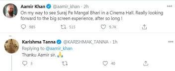 Aamir Khan watches Suraj Pe Mangal Bhari in theatres, Karishma Tanna thanks  him - ACQRO