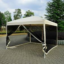 10 x10 outdoor pop up party tent patio gazebo canopy mosquito net shade tan