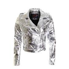 las silver gold shiny pvc leather jacket womens zip coat size 8 10 12 14 silver