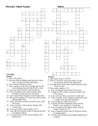 periodic table ignment crossword