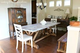 How to Whitewash Wood Making over our Pottery Barn Inspired Table