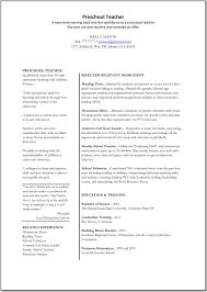 Pre Primary School Teacher Resume Sample Elementary Teacher Resume