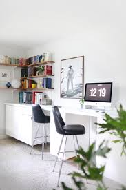 Make a long, built-in style desk by hanging cabinets and creating your own