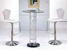 modern bar table sets style with round tall chrome freestanding and stylish clear glass top bar table with white leather pads tall stools