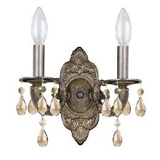 wall sconce dd with golden teak crystal hover to zoom