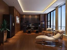modern office decor. Modern Office Decor With Laminate Flooring Glass Windows Combined Wooden Wall Panel: Impressive Home Designing.