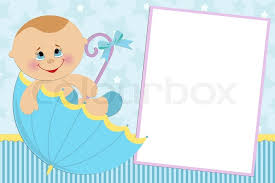 blank template for baby s greetings card or photo frame in blue colors