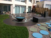 modern concrete patio. Artistic Patio, Blue Concrete Commercial Floors Suncoast Coatings Inc San Diego, CA Modern Patio
