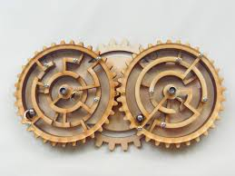 Wooden Maze Game With Ball Bearing Gabriel Fernandes' Puzzle Collection Zahnradlaby Double Gear Maze 83