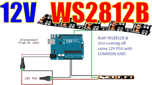 12V WS2812B 3-wire LED Strip with Arduino Uno - YouTube