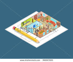 isometric office furniture vector collection. Apartment Interior Plan Flat 3d Isometric Isometry Profession Concept Web Site Vector Illustration. Indoor Walls Office Furniture Collection