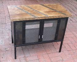vintage steel furniture. Plain Steel Custom Made Vintage Style Steel Cabinet With Milled Oak Slab Top Furniture U