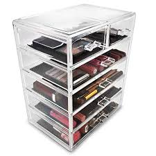 cosmetic makeup storage case 4 large 2 small drawers clear organize all your makeup cosmetics and accessories into a dazzling personalized beauty
