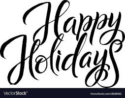 Black And White Greeting Card Happy Holiday Calligraphy Greeting Card Black Vector Image