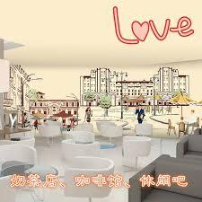 European architectural sketch seamless mural corner cafe restaurant