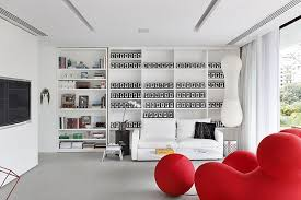 Accent Interior Design. Red Accent with White and Black
