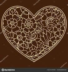 Mehndi Květinový Vzor Formě Srdce Pro Kreslení Hennou Tetování