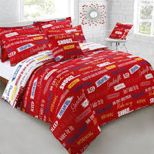 details about snooze sleep wake up red white king size cotton blend duvet comforter cover