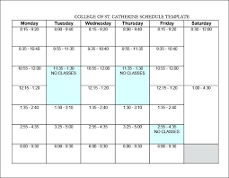 Class Schedule Template Online Student Schedule Template College Class Study Plan Free Planner
