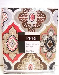 coral and brown shower curtain. peri lilian tile fabric shower curtain in shades of dark coral, grey, taupe, beige, brown \u0026 white coral and t