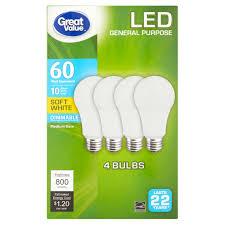 Walmart Great Value Led Light Bulbs Great Value Led Light Bulb 10w 60w Equivalent Soft White