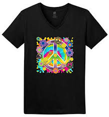 Hanes V Neck Size Chart Amazon Com Psycadelic Peace Sign Flowers Smiley Faces