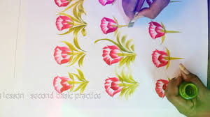 free hand painting basic saree flower design composition more designs free hand fabric painting