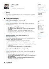 Restaurant Hostess Resume Sample Template Example Cv Resume