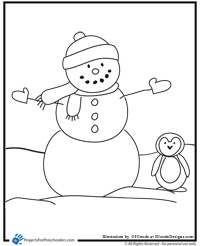 Small Picture Snowman coloring page Projects for Preschoolers