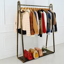 Wrought iron coat rack clothing display shelf floor hangers home storage  wardrobe closet bedroom furniture for clothes store-in Wardrobes from  Furniture on ...