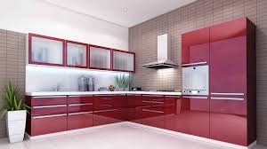 Red Gloss Kitchen Cabinets Sweet Red Gloss Finished Modular Kitchen Cabinets With Wall