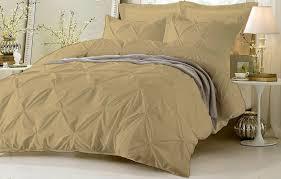 details about beige pinch pleated duvet set with zipper corner ties 100 cotton 800 tc